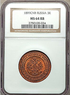 ***** Ngc ***** Russia 3 Kopek 1899 ** Ms-64 Rb ** Mostly Red! Rare So Nice!