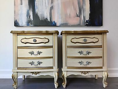 Vintage 1970's French Provincial Nightstand [Complete Set]