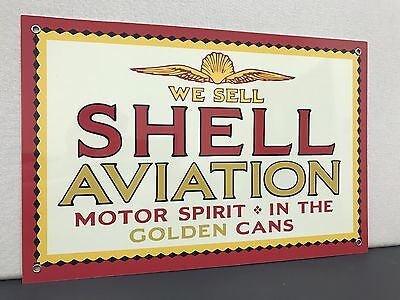 Shell aviation advertising gasoline oil sign vintage baked large 12x18 inch