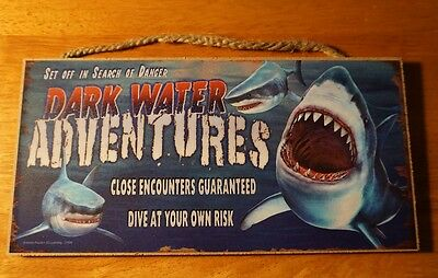 DARK WATER ADVENTURES GREAT WHITE SHARK TOUR SIGN Nautical Beach Home Decor NEW