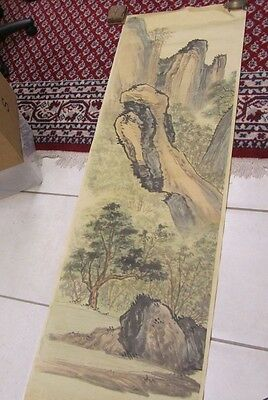 "Vintage Asian Tapestry Paper Scroll Art Wall Hanging 20""x68"" Mountain Scene"
