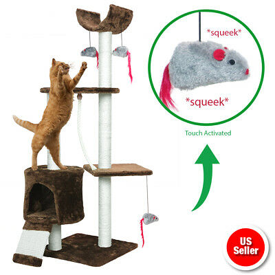 Cat Tree Kitten Activity Tower Condo Perches Scratching Posts and Squeaking Mice