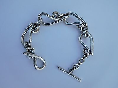 Cool Rare Unisex Art Nouveau Deco Early 1900s French Solid Silver Bracelet !