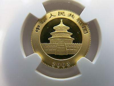 Ejection Doubled 2003 1/10 oz NGC MS69 Gold Panda 50 Yuan China Chinese Coin