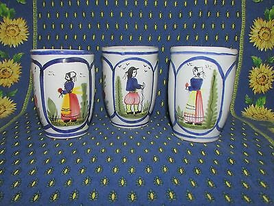 """Quimper Faience,  3 Tulip Mugs, """"Henriot"""" Pattern,  4"""" Tall"""