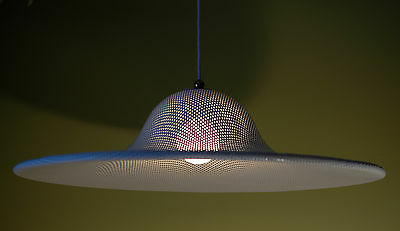 HUGE Vtg 50s RETRO Mcm MATEGOT Era Perforated ATOMIC Pendant LIGHT Fixture LAMP