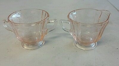 Anchor Hocking MAYFAIR OPEN ROSE PINK FOOTED CREAMER & SUGAR