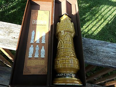 VTG OLD CROW CASTLE / Tower Rook DECANTER w/BOX 1960's