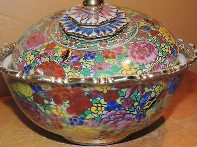 "Chinese Crackle ware 8"" Covered Dish Qing/ Early Republic? Antique Hand Painted"