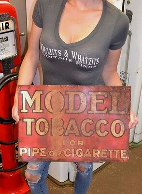 Antique Model 1950's tobacco sign rustic salvaged red metal