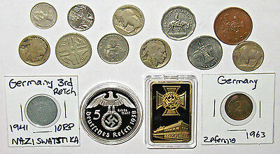 USA Coins + Foreign Coins with German Items! 3rd Reich Nazi. (n29)