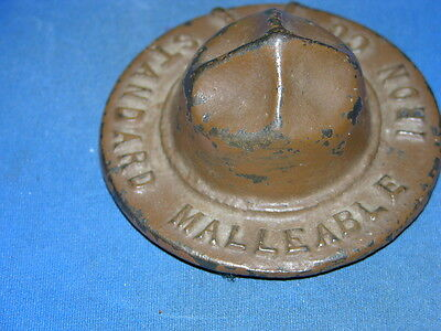 Vintage Iron WW 1 Drill Sergeants Paperweight Hat Advertising Malleabele Iron Co