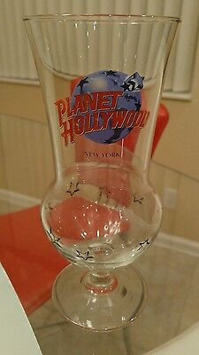 "PLANET HOLLYWOOD NEW YORK ~ VINTAGE HURRICANE BAR GLASS 8.25"" high~ COLLECTIBLE"