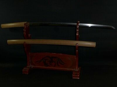 "KATANA (sword) w/White sheath : YASUTSUNA : EDO : 37.4 × 26.2 ""  910g"