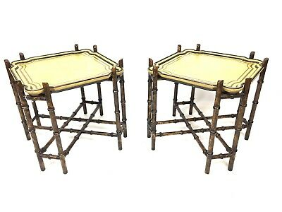 Pair Vintage Baker Furniture Company Faux Bamboo Hollywood Regency Side Tables
