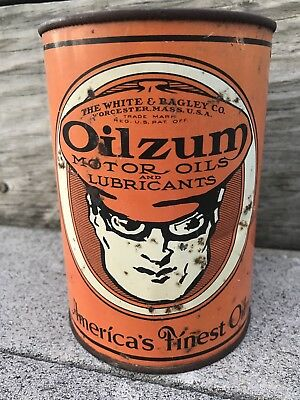 Vintage Oilzum White & Bagley Worcester, Mass. Motor Oil One-quart Metal Can