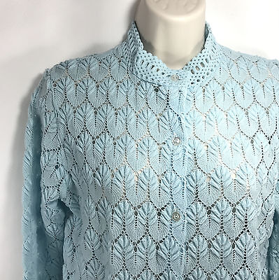 Vintage Womens Blue Knit Buttoned Sweater Size 38 Acrylic Japan Montgomery Ward