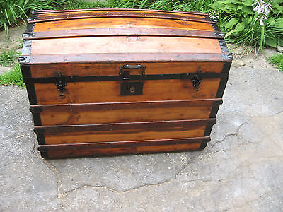 "36"" ANTIQUE 1800s TRUNK WOOD DOME TOP STAGE COACH CHEST NATURAL RESTORED"