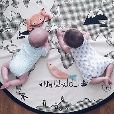 Baby Round Carpet Playing Mat World Map Floor Cotton Kid Crawling Pad Rug LJ