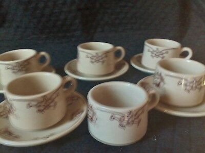 Shenango china, cowboy round-up, 6 cups, five with saucers