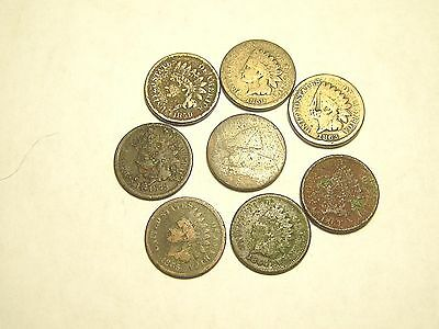 Cull Lot early Indian Cents with Flying Eagle Cent 8 coins