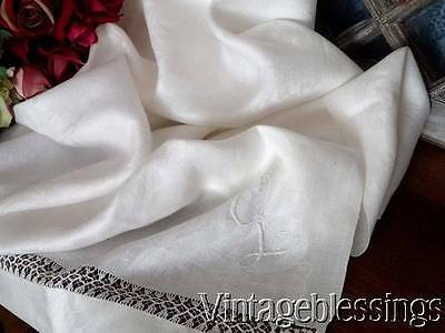 Antique Fine Damask Lace and Monogrammed L Tablecloth or Coverlet 83x72""