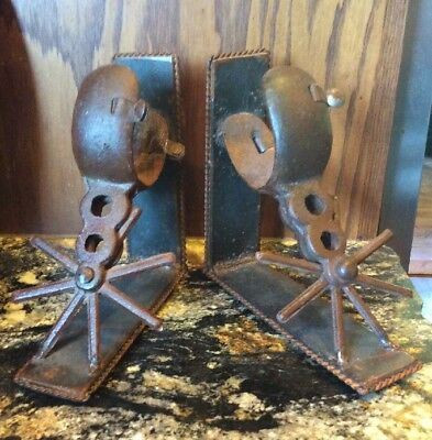 Pair of Handmade Hand Forged Rustic Western Cowboy Spur Bookends - Free Shipping
