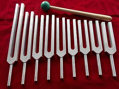 9 Unweighted Sacred Solfeggio Tuning Forks with Mallet