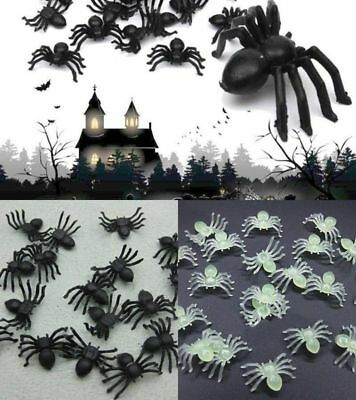 20/50/100 Pcs Plastic Spider Trick Toy Party Halloween Haunted House Prop Decor