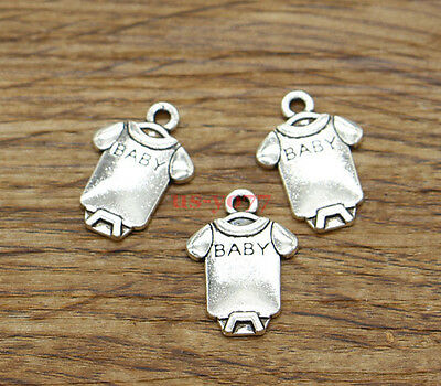 50pcs Baby Charms One Piece Outfit Bulk Charm Antique Silver Tone 12x18mm 1817