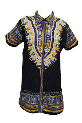 Unisex Dashiki Tunic Top Hippie Boho Gypsy African Print Black Dress Shirt L