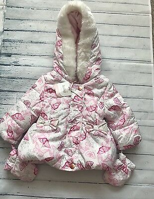 Baby Girls Clothes 0-3  Months - Winter Hooded Coat With Mitts New 🦋 🌺❤️