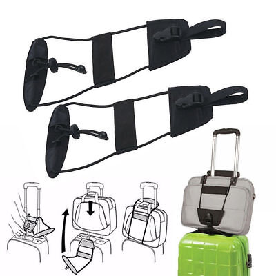 Travel Luggage Suitcase Adjustable Belt Add A Bag Strap Carry On Bungee Black