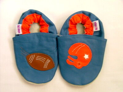 Brand New Soft Leather Baby Shoes  0-6 Mths American Football Motif Girls/Boys