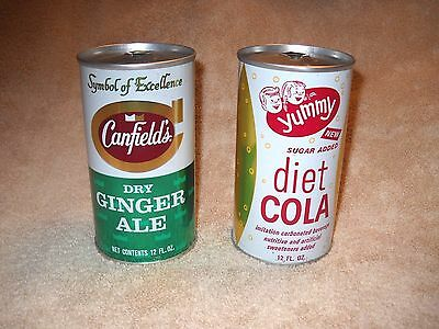 Yummy Diet Cola, Canfield's Dry Ginger Ale - 2 soda pop cans, Empty 12 oz  Cans