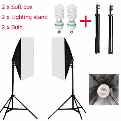 2 x 135W Photography Studio Softbox Continuous Lighting Soft Box Light Stand Kit