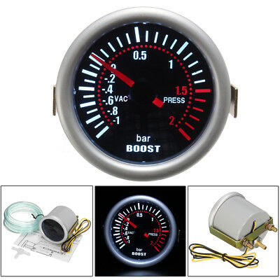 "2"" 52mm 12V SMOKED BAR WHITE LED LIGHT TURBO BOOST CAR AUTO GAUGE METER Dials"