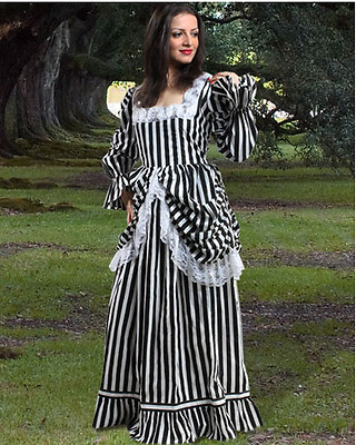 Women's Victorian Steampunk Striped Cotton Lace up Dress Costume Halloween New