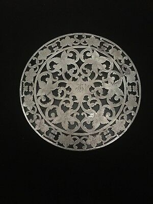 "Antique Sterling Silver Overlay Trivet 6"" With Light Monogram"