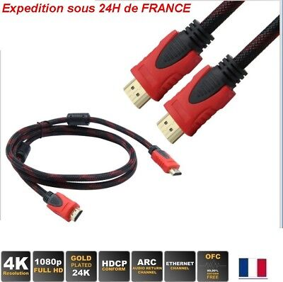 Câble HDMI premium 1.4 Nylon or ultra-HD 3D 4K Ethernet 0.5/1/1.5/2/3m tv xbox p