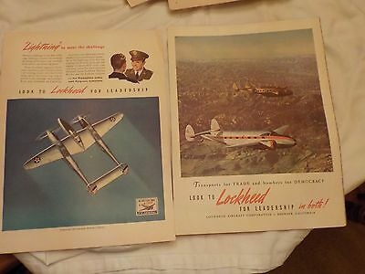 Two Vintage Lookheed Aircraft Advertisements And A Oldsmobile Ad 1940's
