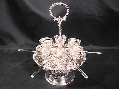 Antique Roger's Bros. Silver Plated Egg Server Six Egg Cups and Spoons c1861