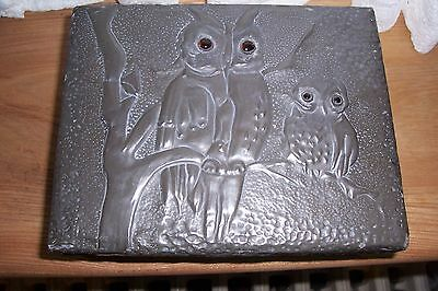 Arts and Crafts hand worked pewter box , wonderful owl design