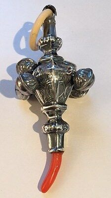 Solid Silver Baby Rattle w/ Bells & Teether