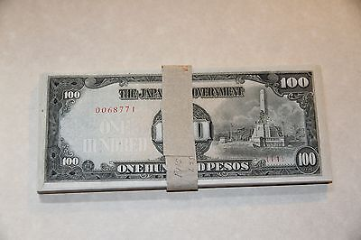 Philippines Lot of (70) 100 Pesos 1944 WWII Japanese Occupation  P.112 Unc-XF