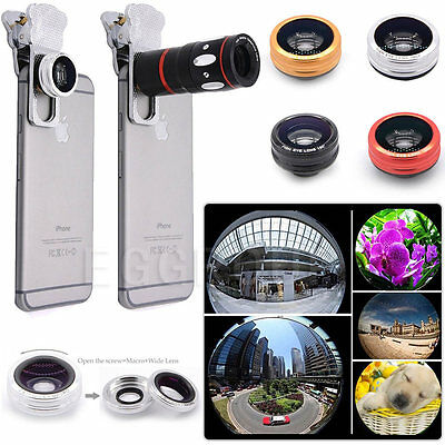 4in1 Fish Eye+Wide Angle+Micro+10x Zoom Optical Camera Lens Telescope For Phones