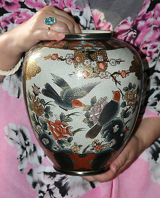 """A 9.5"""" Chinese Satsuma Prunus Bird Inverted Baluster Vase with tons of Gold"""