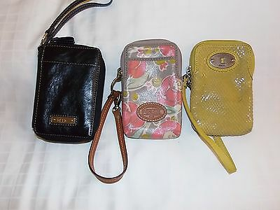 3pc lot of fossil & relic wristlets leather, coated canvas, phone, id wallet