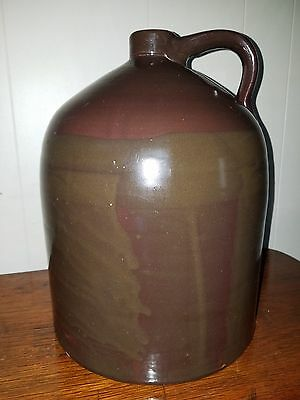 Large Antique Pottery 3 GAL Stoneware Beehive Jug w/Handle Fantastic Glaze EXC