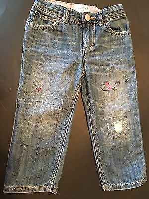 Baby GAP 2 toddler baby girl distressed Embroidered blue jeans 18-24 months